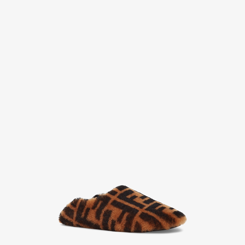 FENDI SIGNATURE - Brown sheepskin slippers - view 2 detail