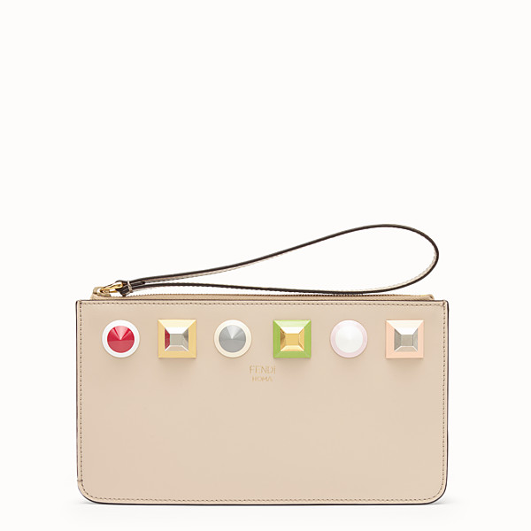 FENDI FLAT CLUTCH - Beige leather pochette - view 1 small thumbnail