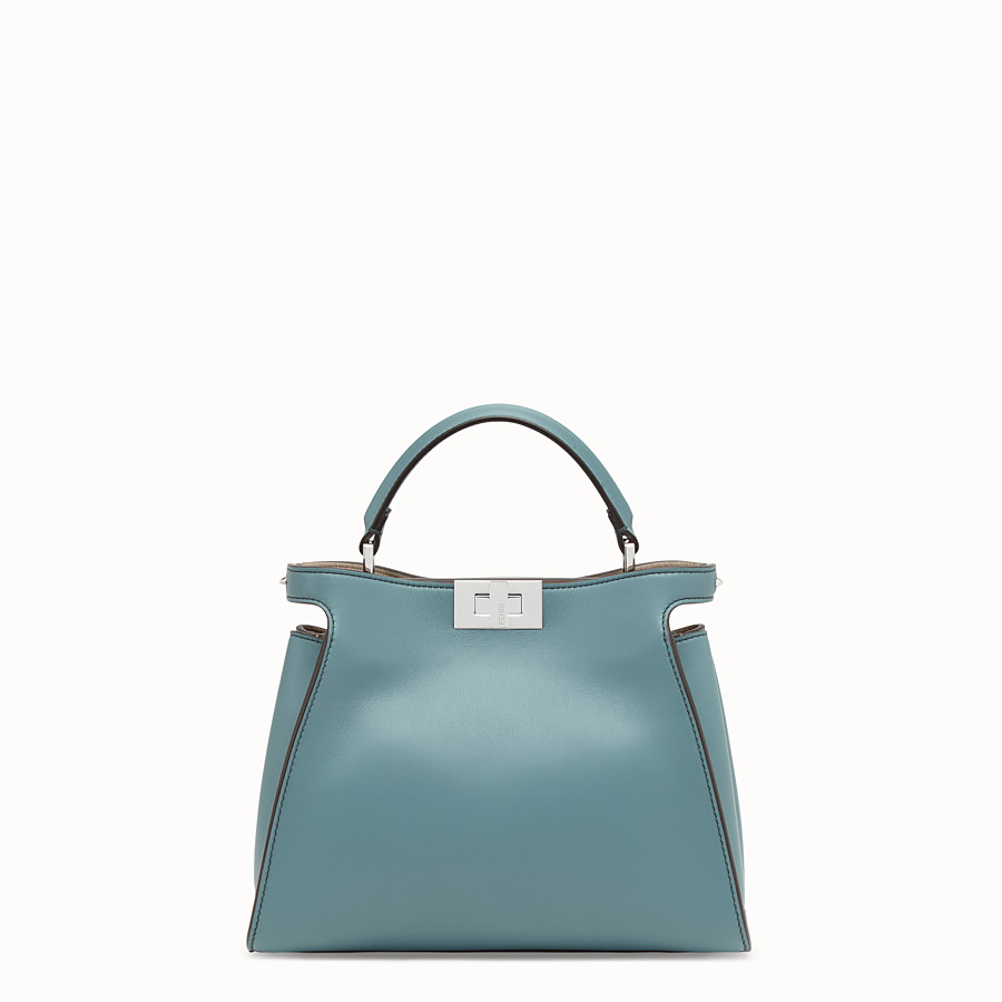FENDI PEEKABOO ICONIC ESSENTIALLY - Light blue leather bag - view 1 detail