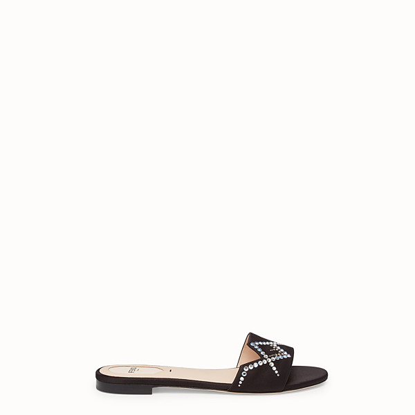 FENDI SLIDES - Black satin slides - view 1 small thumbnail