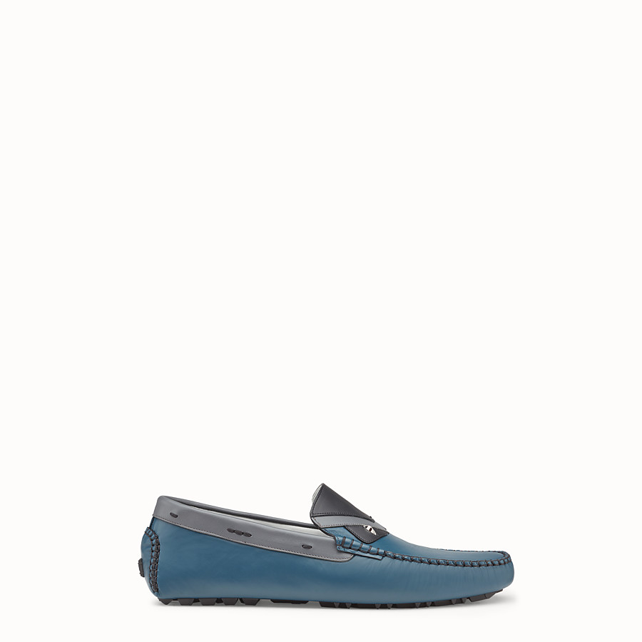FENDI LOAFERS - Blue and grey leather drivers - view 1 detail
