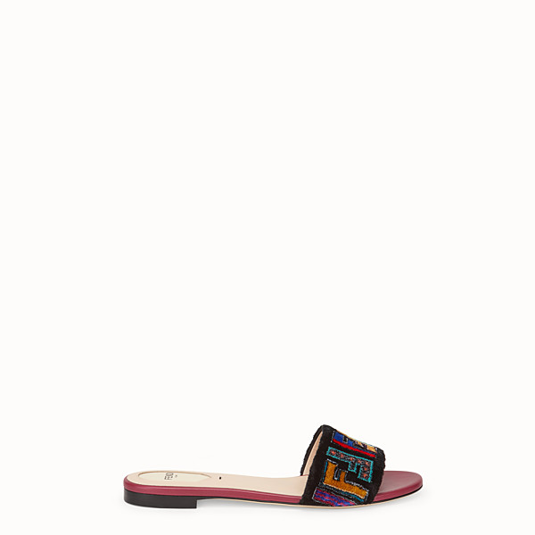 FENDI SABOTS - Multicolour leather and fabric sandals - view 1 small thumbnail