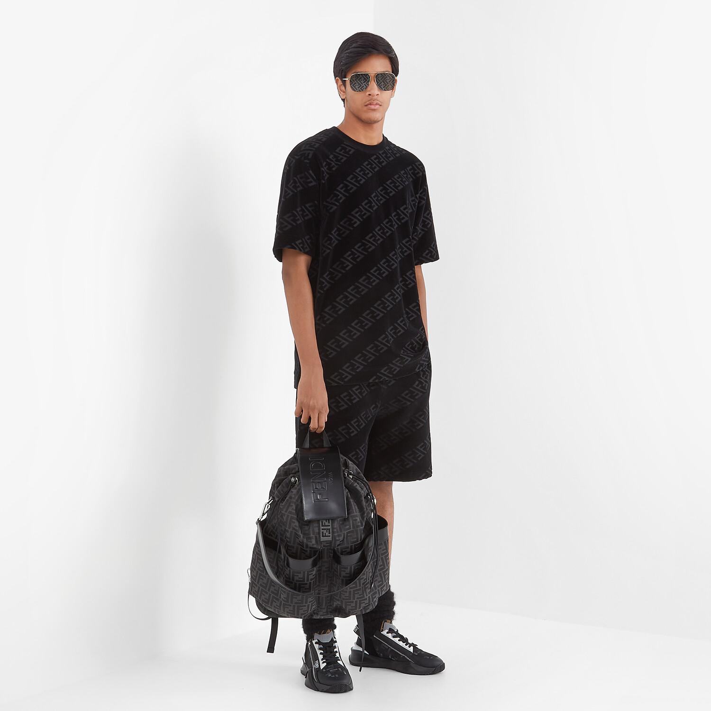 FENDI T-SHIRT - Black velvet T-shirt - view 4 detail
