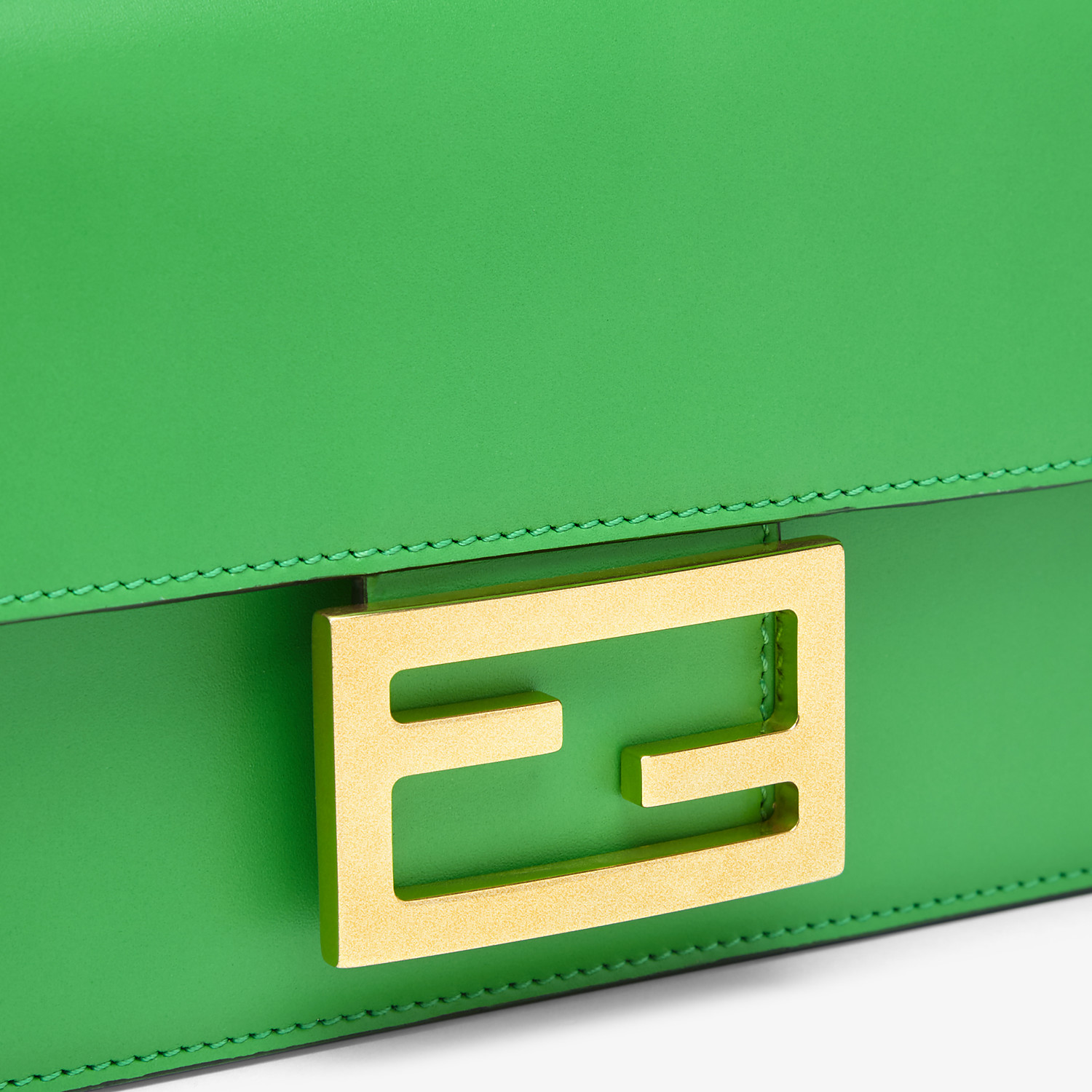 FENDI FLAT BAGUETTE - Green leather mini bag - view 6 detail