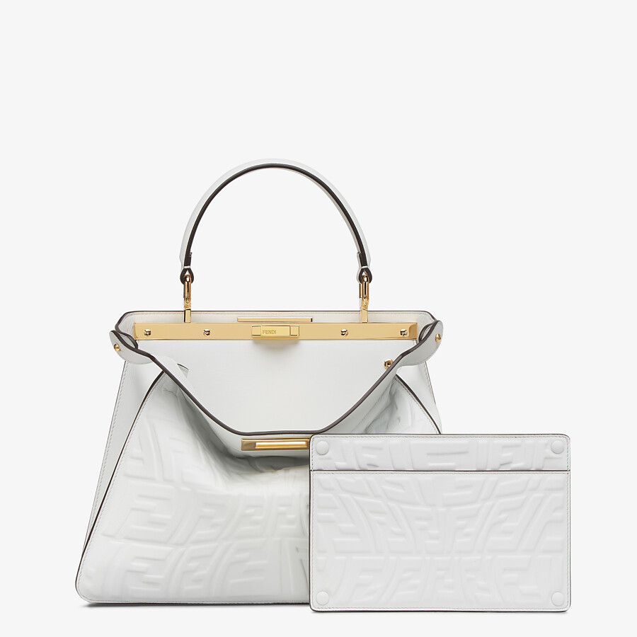 FENDI PEEKABOO ISEEU MEDIUM - White nappa leather bag with a glow in the dark FF - view 3 detail
