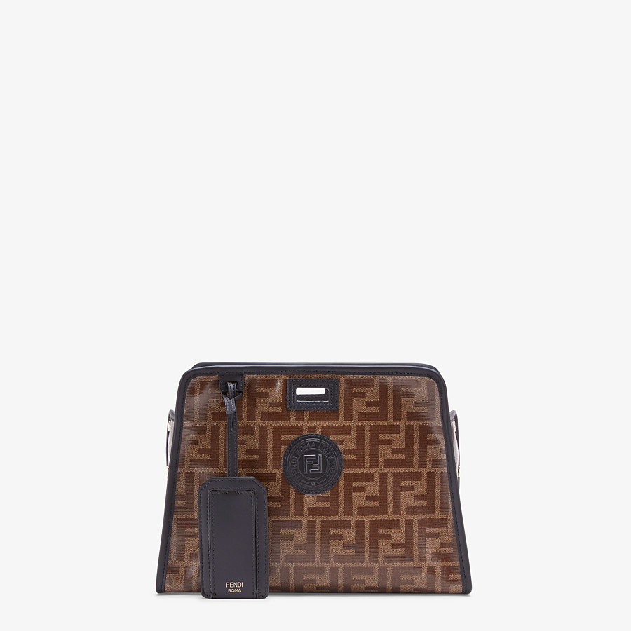 FENDI SMALL PEEKABOO DEFENDER - Peekaboo cover in brown fabric - view 1 detail