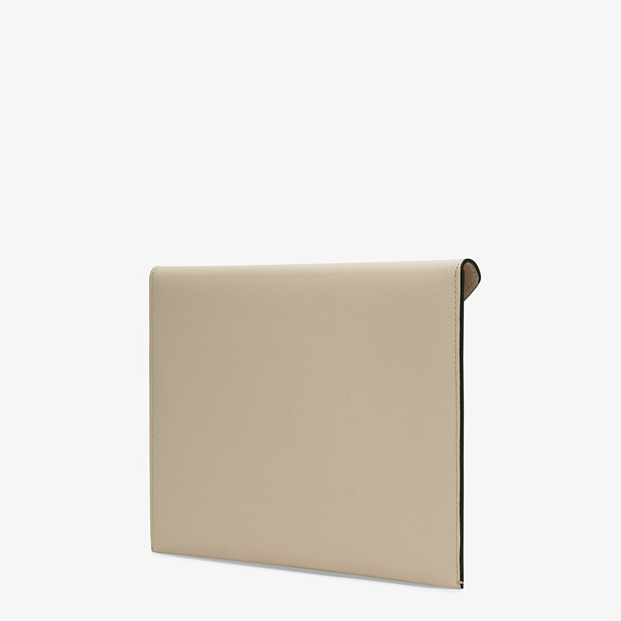 FENDI FLAT POUCH LARGE - Beige leather pouch - view 2 detail