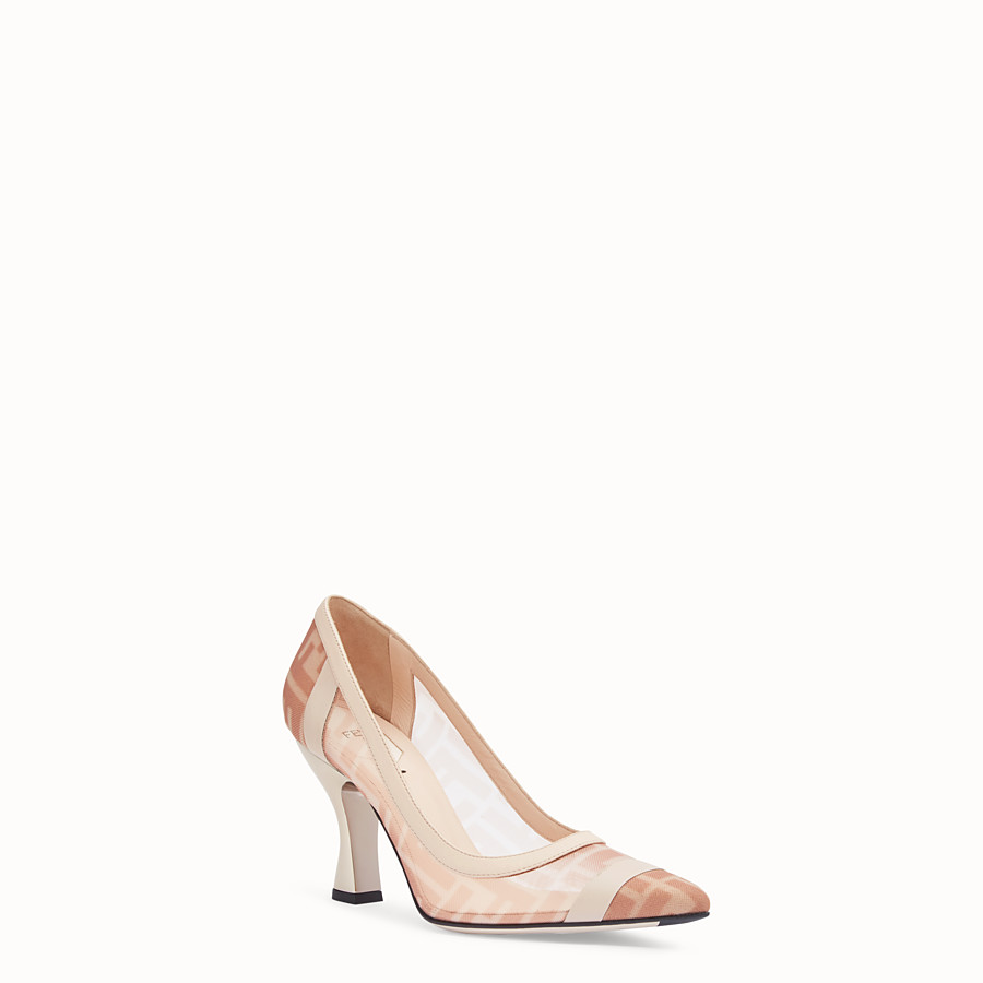 FENDI COURT SHOES - Colibrì in pink mesh and nude leather - view 2 detail