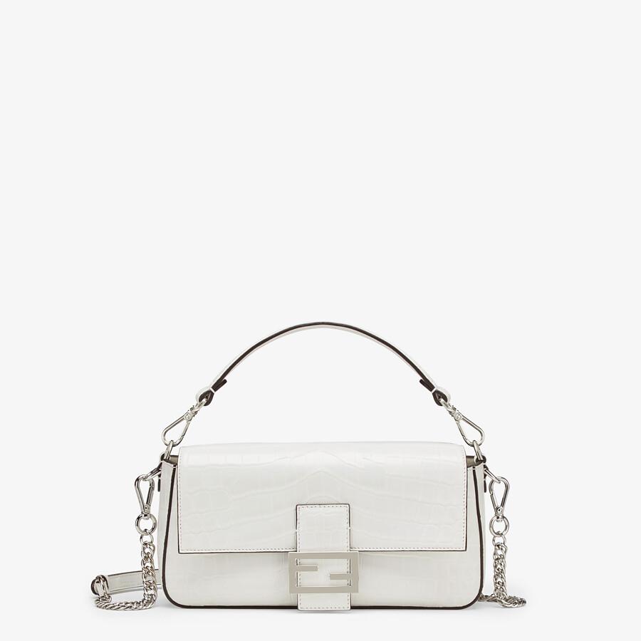 FENDI BAGUETTE - White crocodile leather bag - view 1 detail
