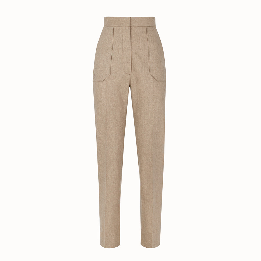 FENDI TROUSERS - Beige cashmere trousers - view 1 detail