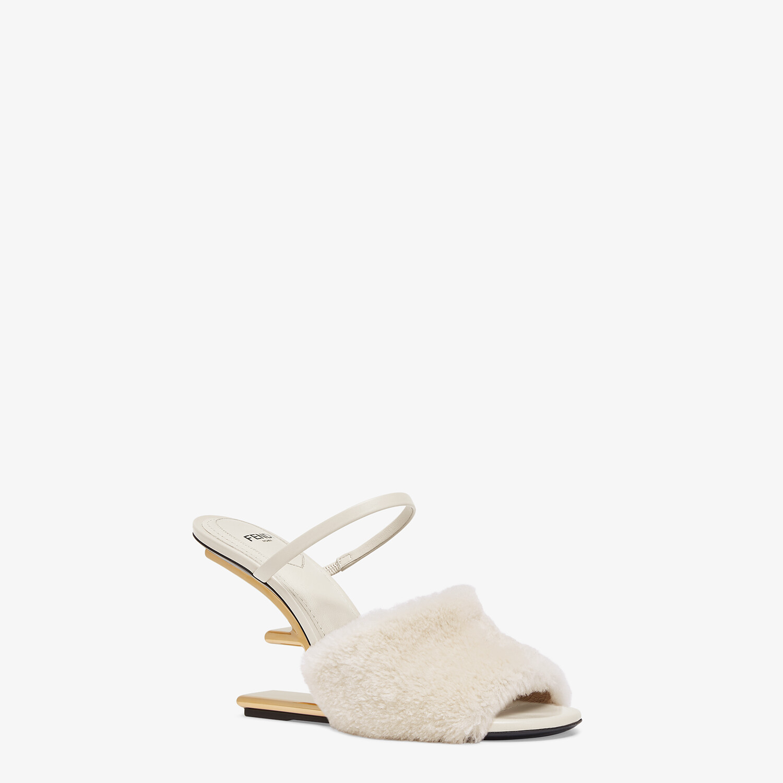 FENDI FENDI FIRST - White sheepskin high-heeled sandals - view 2 detail