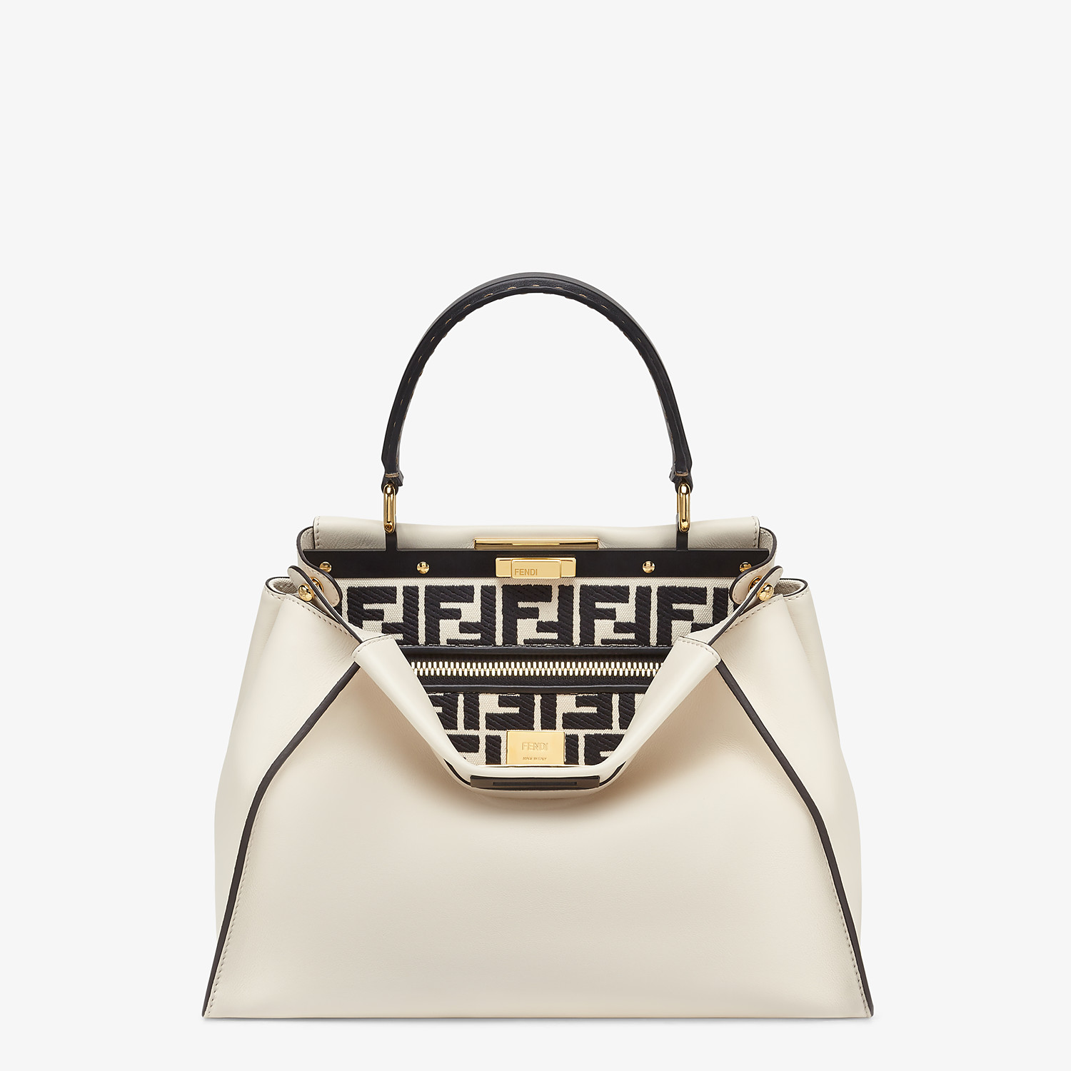 FENDI PEEKABOO ICONIC MEDIUM - White leather and FF embroidery bag - view 1 detail