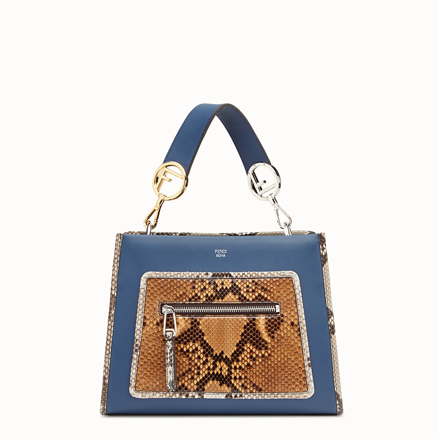 FENDI RUNAWAY SMALL - Exotic blue leather bag - view 1 detail