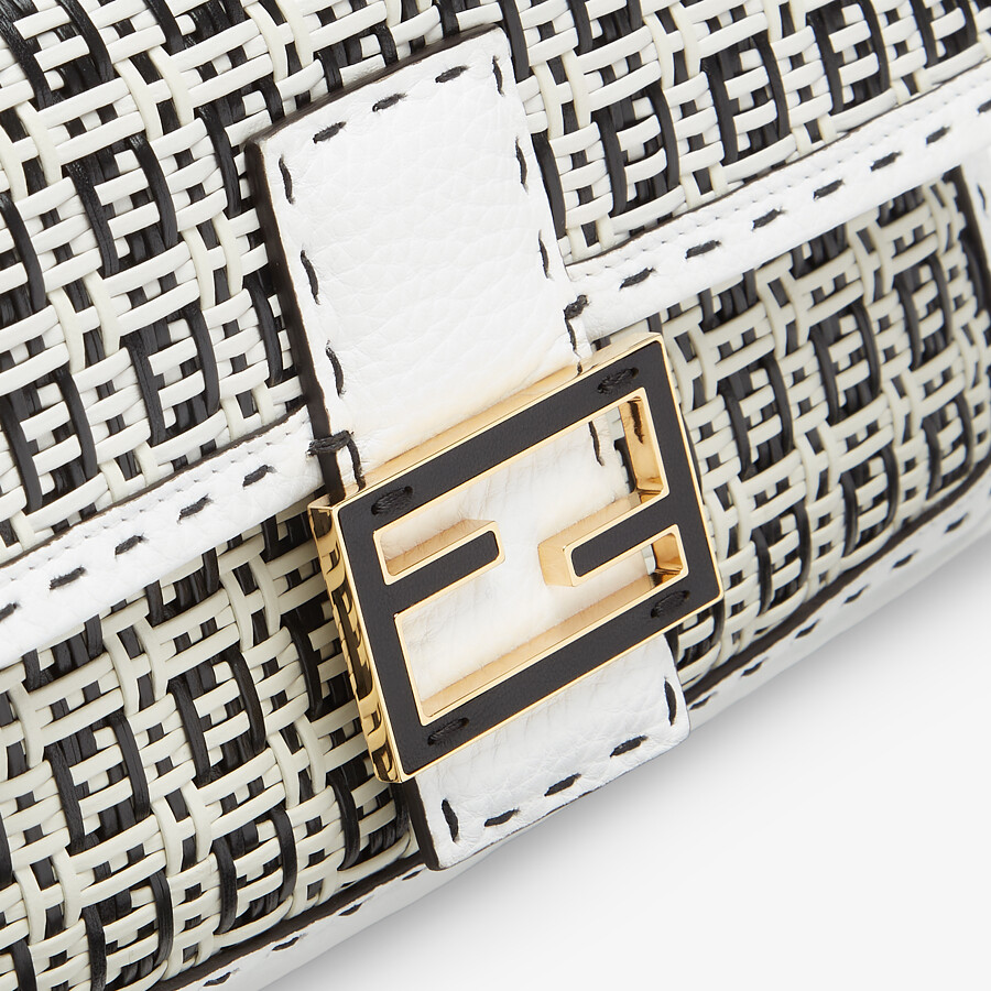 FENDI BAGUETTE - Black and white braided leather bag - view 5 detail