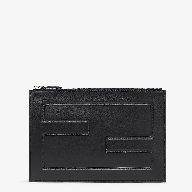 FENDI BAGUETTE BIG POUCH - Black leather bag - view 1 detail