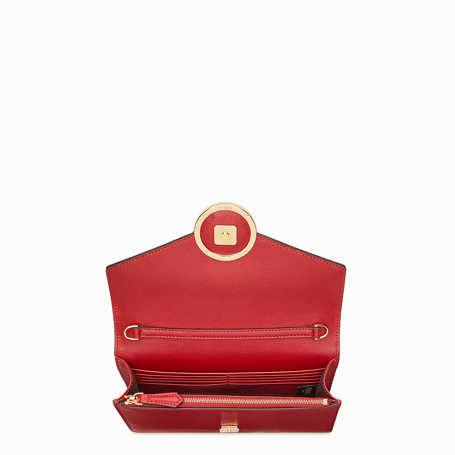 FENDI WALLET ON CHAIN - Red leather mini-bag - view 4 detail