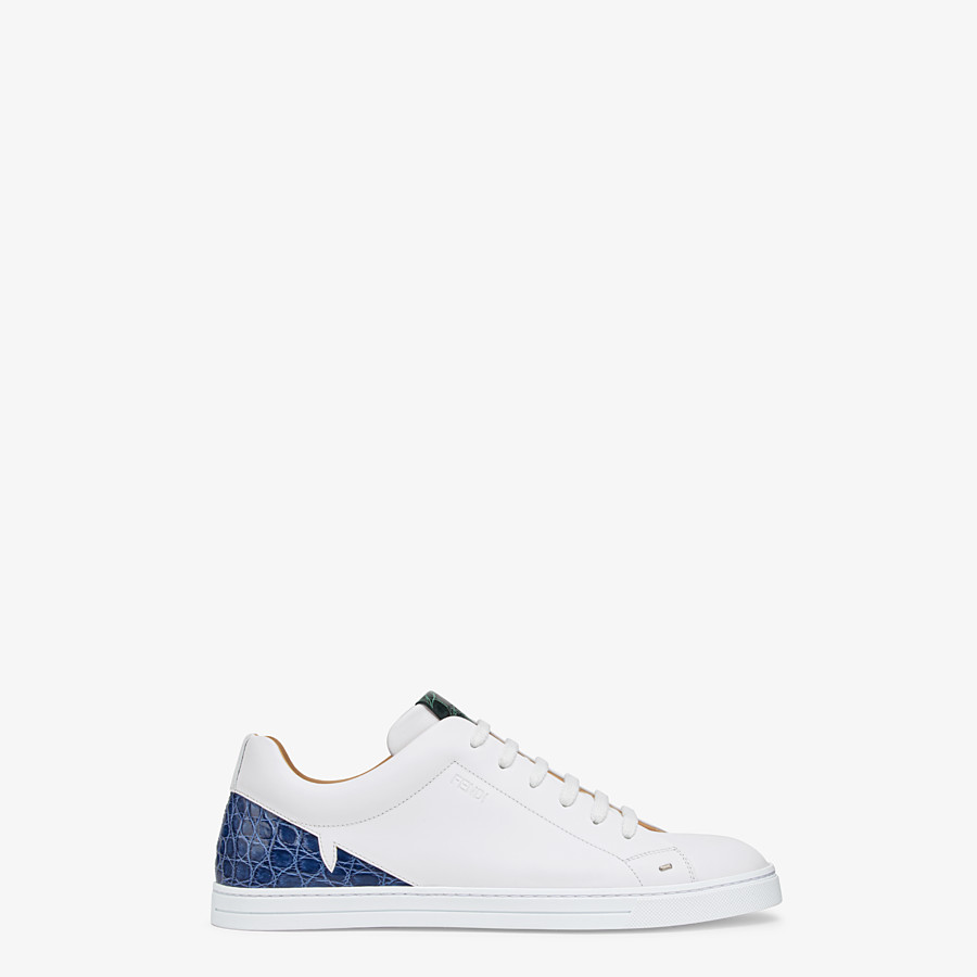 FENDI SNEAKERS - White leather low-tops with exotic details - view 1 detail