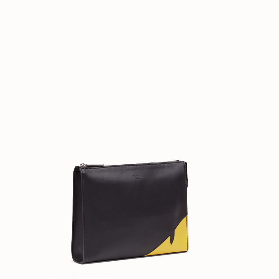 FENDI CLUTCH - Black calf leather pochette - view 2 detail