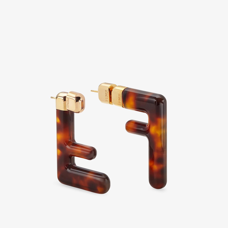 FENDI MEDIUM FF EARRINGS - Brown plexi earrings - view 1 detail