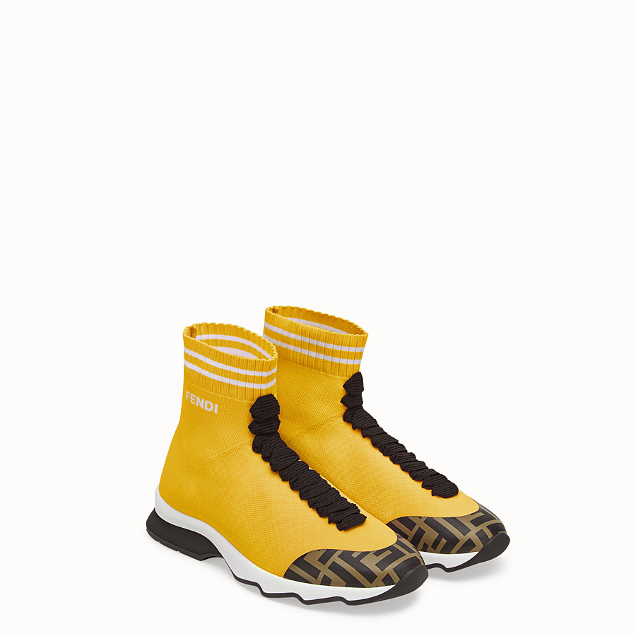 FENDI SNEAKERS - Yellow fabric sneaker boots - view 4 detail