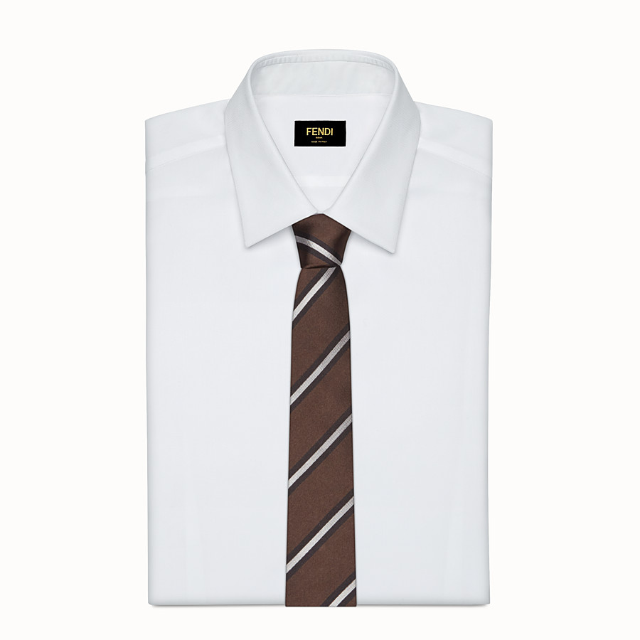 FENDI TIE - Brown silk tie - view 2 detail