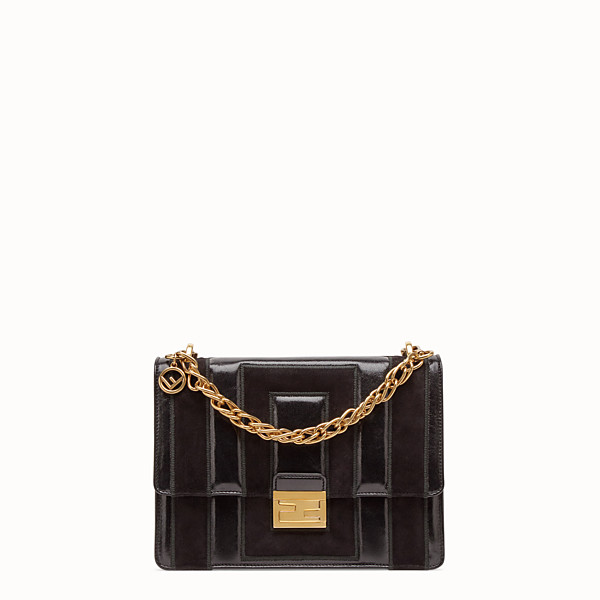 FENDI KAN U - Black leather and suede bag - view 1 small thumbnail