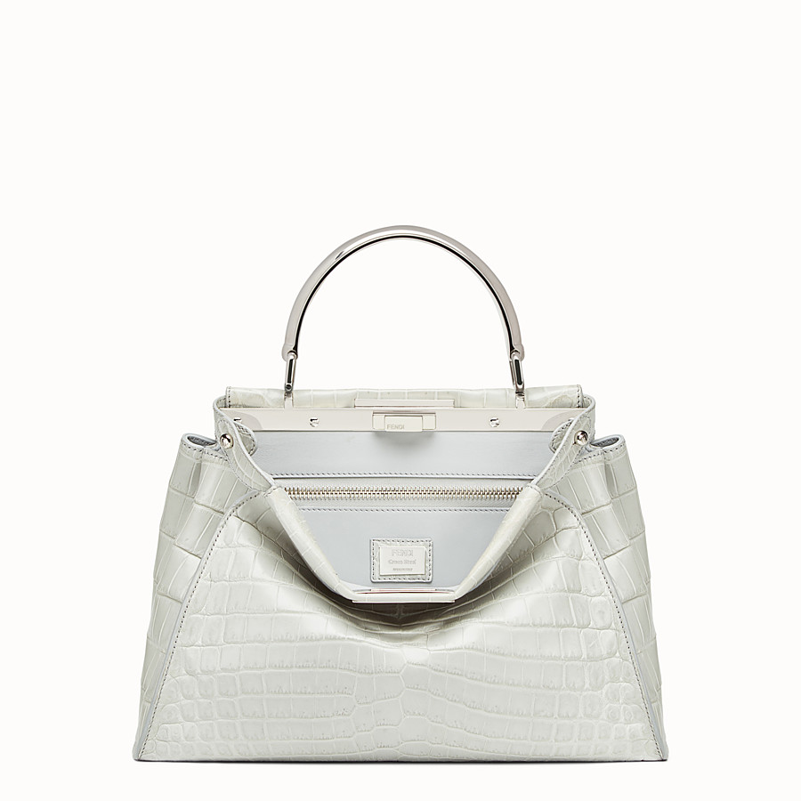 FENDI PEEKABOO REGULAR - Pearl grey crocodile leather handbag. - view 1 detail