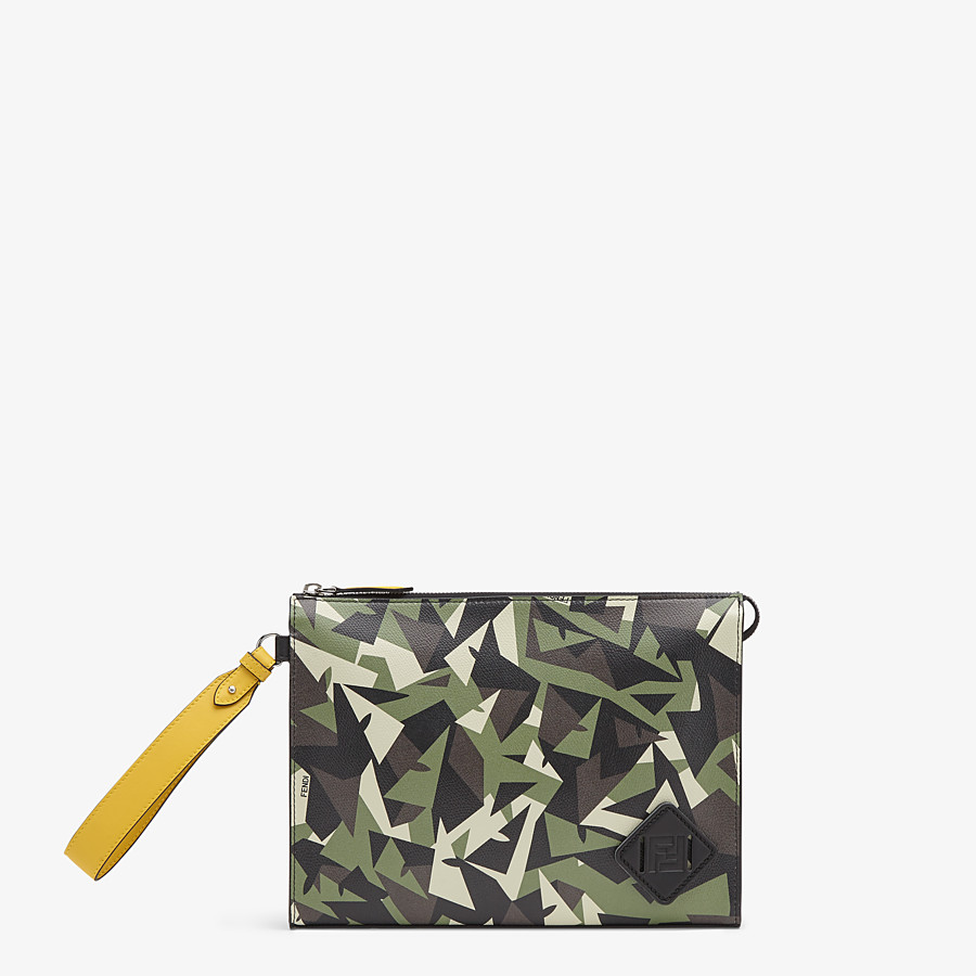 FENDI FLAT POUCH - Green leather pouch - view 1 detail