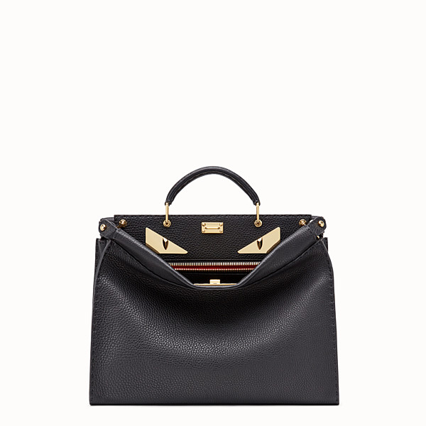 FENDI PEEKABOO ICONIC FIT - Sac en cuir romain noir - view 1 small thumbnail