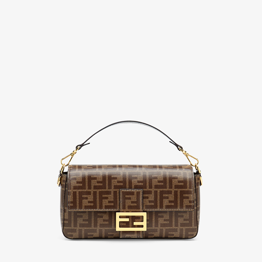 FENDI BAGUETTE CAGE - Brown fabric bag - view 2 detail