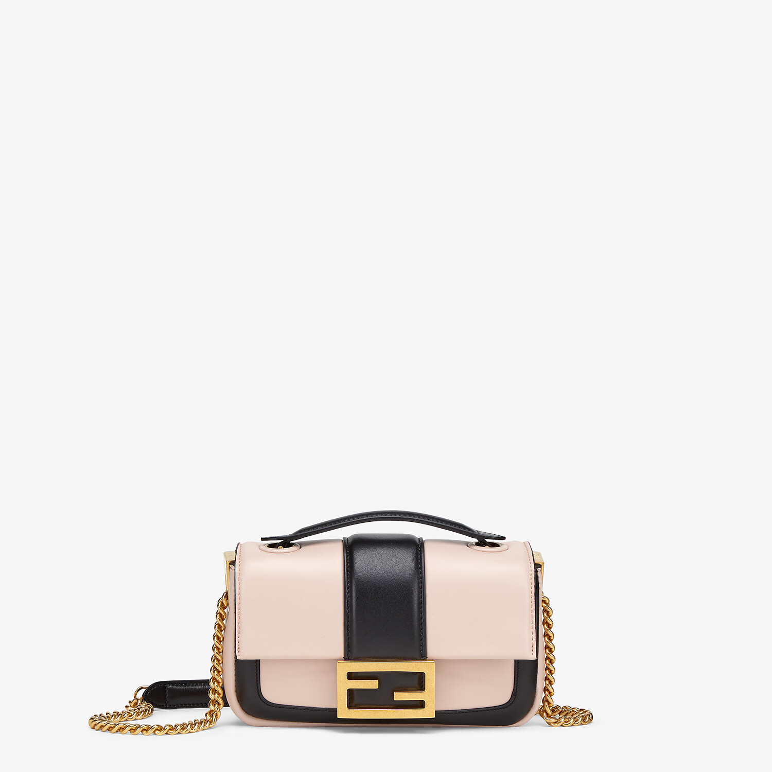 FENDI MINI BAGUETTE CHAIN - Pink and black nappa leather bag - view 1 detail