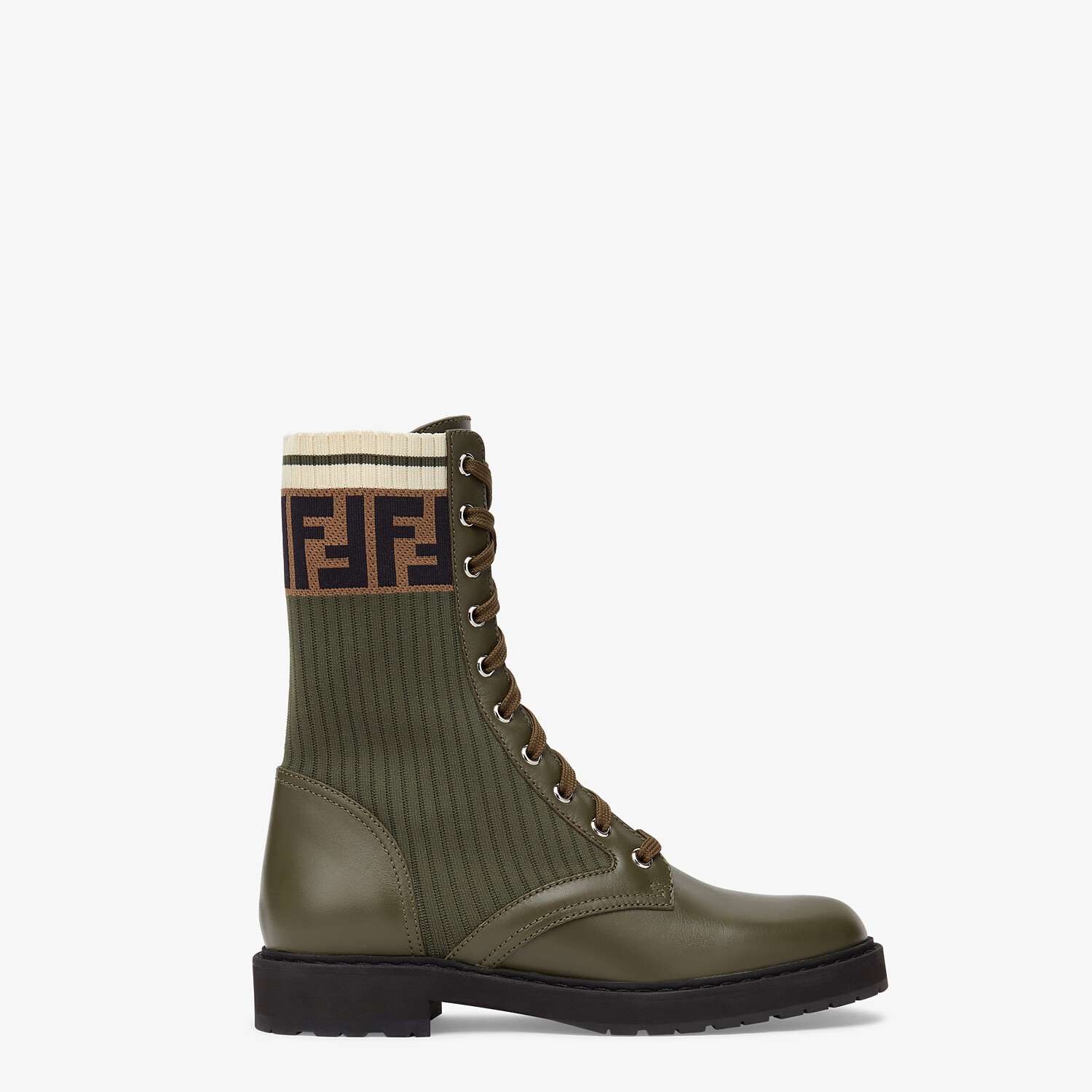 FENDI ANKLE BOOTS - Green leather biker boots - view 1 detail