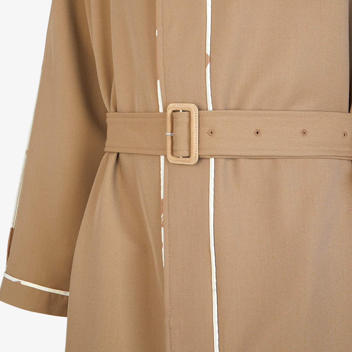 FENDI TRENCH COAT - Brown twill overcoat - view 3 detail