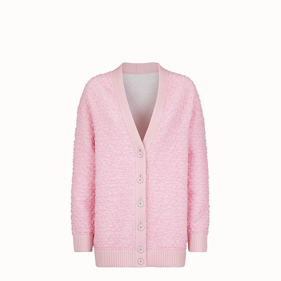 FENDI CARDIGAN - Cardigan in viscosa goffrata rosa - vista 1 dettaglio