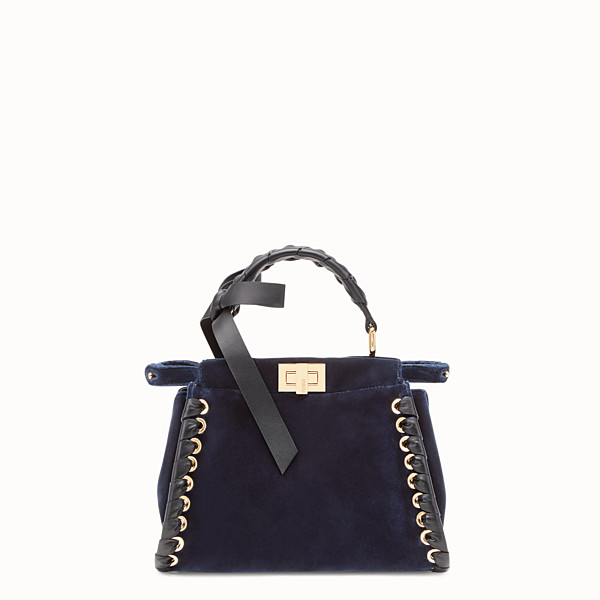 FENDI PEEKABOO MINI - Tasche aus Samt in Blau - view 1 small thumbnail