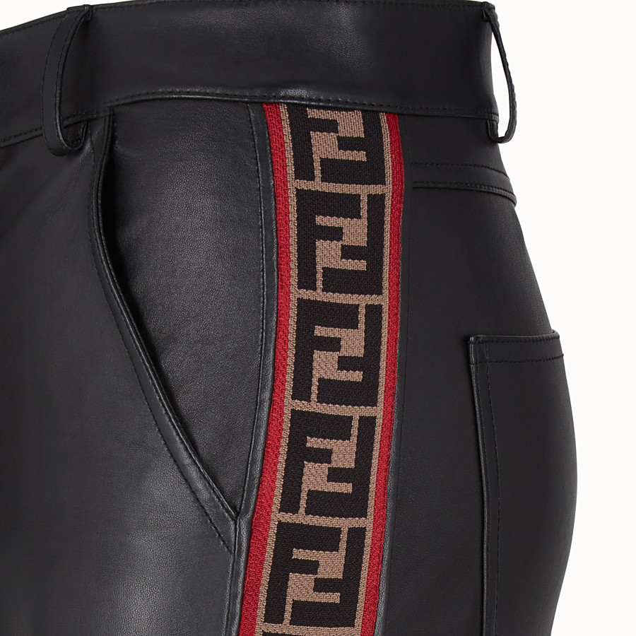 FENDI TROUSERS - Black leather trousers - view 3 detail
