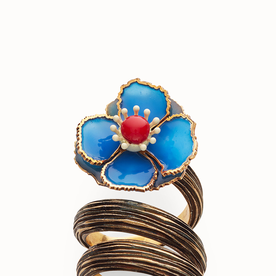 FENDI FLOWER RING - Blue enameled ring - view 2 detail