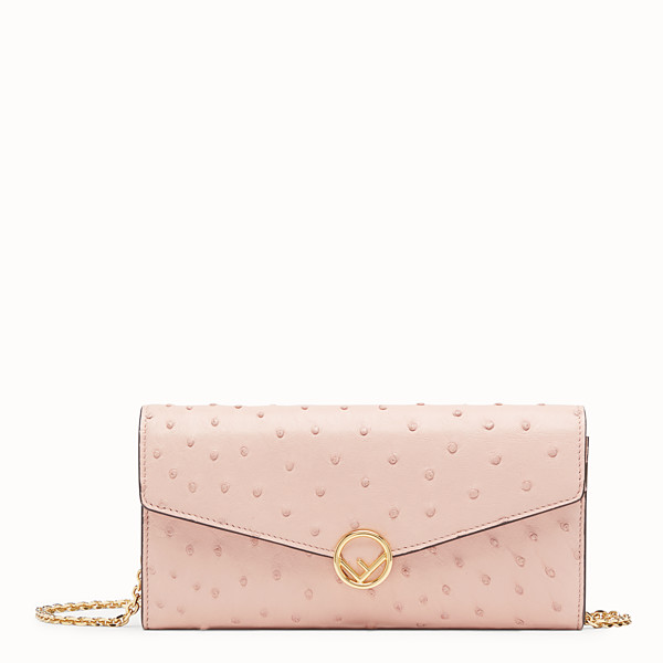 FENDI CONTINENTAL WITH CHAIN - Pink ostrich leather wallet - view 1 small thumbnail