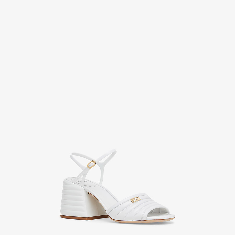 FENDI SANDALS - White leather Promenades - view 2 detail