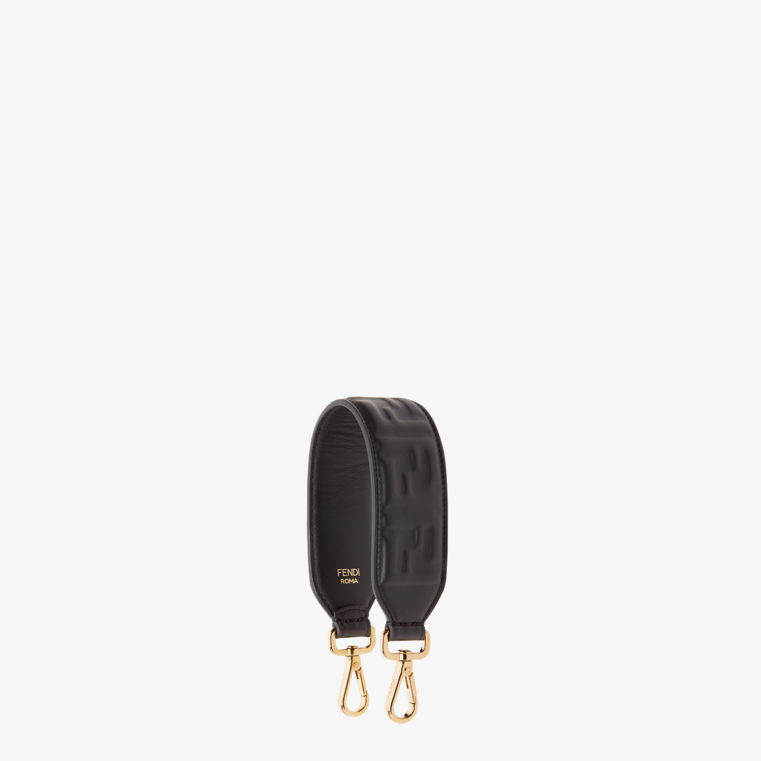FENDI MINI STRAP YOU - Black leather shoulder strap - view 1 detail