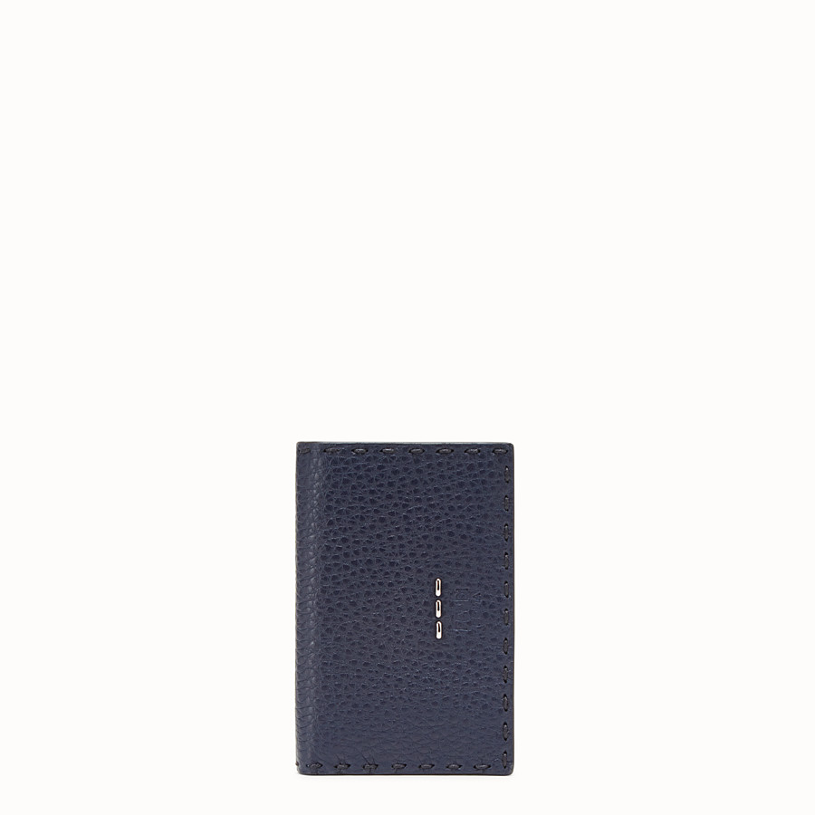 FENDI CARD HOLDER - Blue Romano leather card holder - view 1 detail