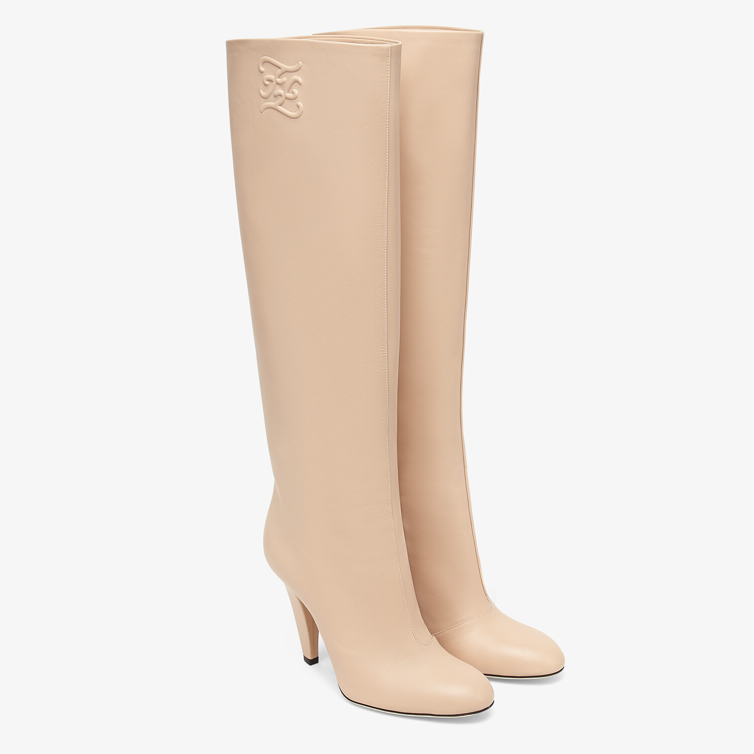 FENDI KARLIGRAPHY - Pink leather, high-heeled boots - view 4 detail