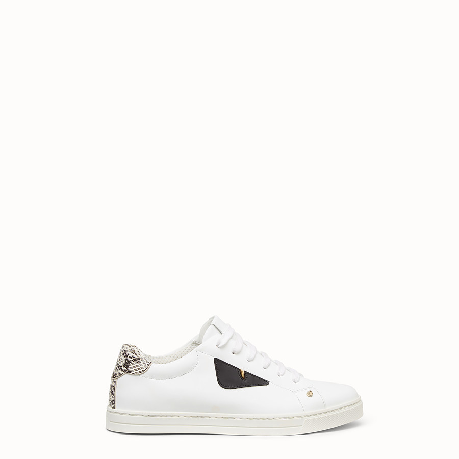 FENDI SNEAKERS - White leather sneakers with exotic details - view 1 detail