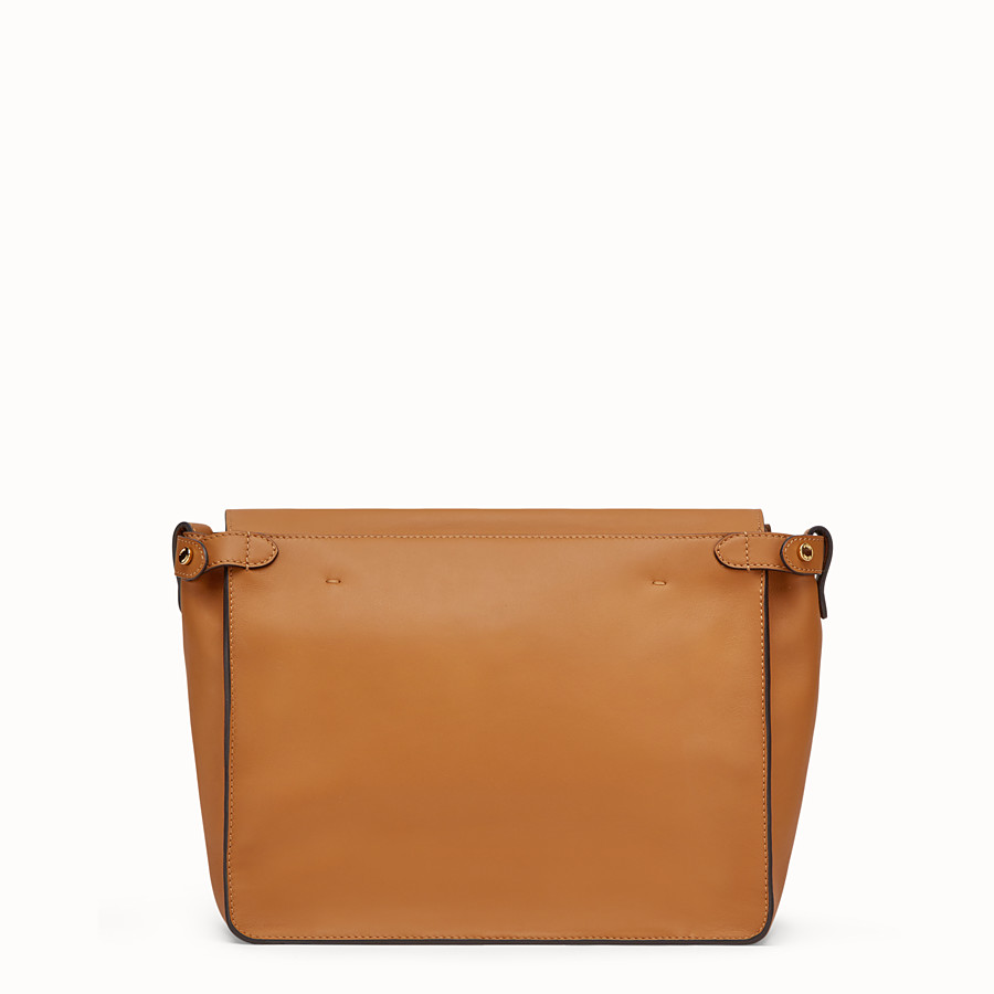 FENDI FENDI FLIP REGULAR - Brown leather and suede bag - view 4 detail