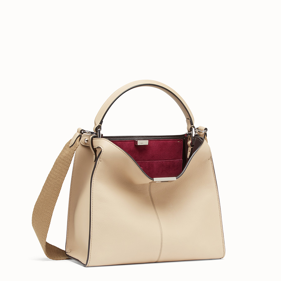 FENDI PEEKABOO X-LITE REGULAR - Beige leather bag - view 4 detail