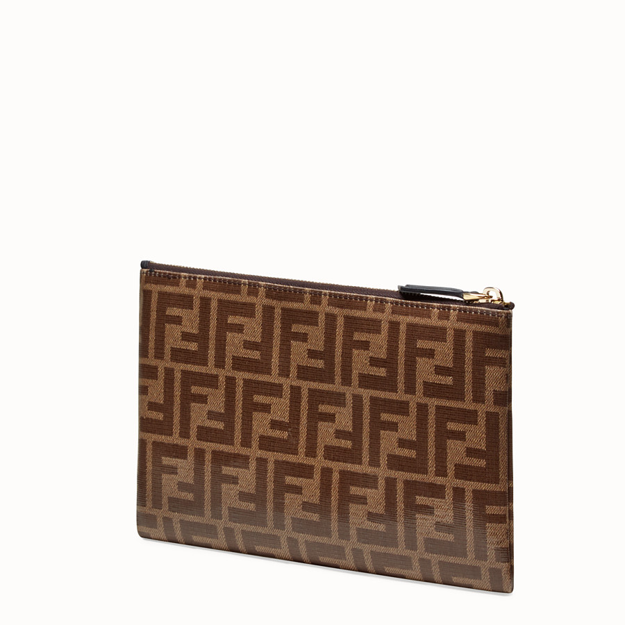 FENDI MEDIUM FLAT POUCH - Brown fabric pouch - view 2 detail