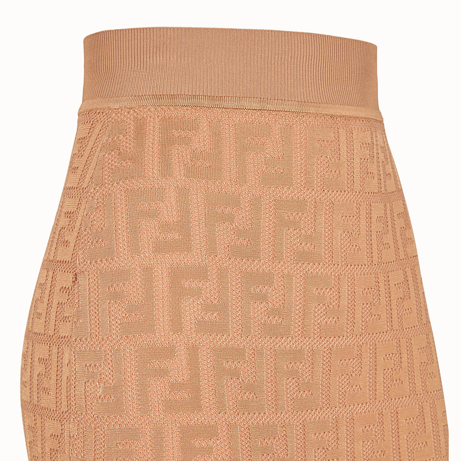 FENDI SKIRT - Beige cotton and viscose dress - view 3 detail