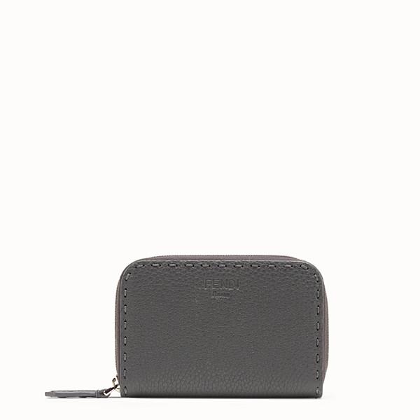 FENDI SMALL ZIP-AROUND - Grey leather wallet - view 1 small thumbnail
