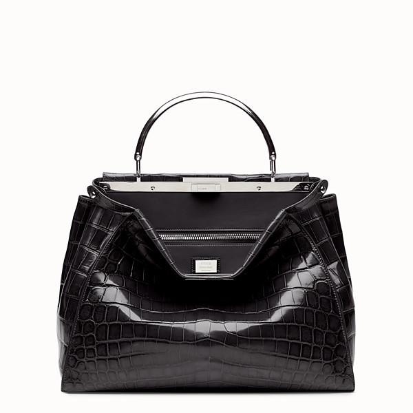 FENDI PEEKABOO LARGE - Black crocodile leather handbag. - view 1 small thumbnail