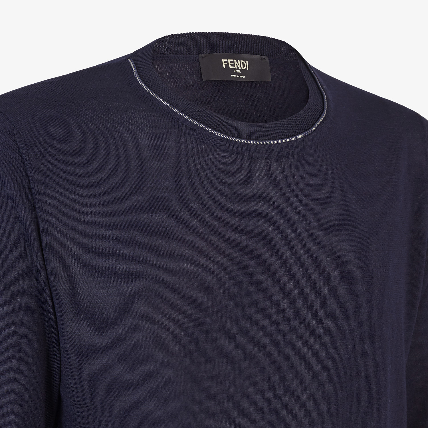FENDI PULLOVER - Blue cashmere, wool and silk jumper - view 3 detail